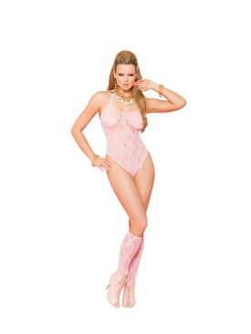 Elegant Moments 81259 Lace Teddy With Matching Stockings