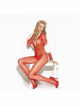 Elegant Moments 8509 Deep V Fishnet Bodystocking