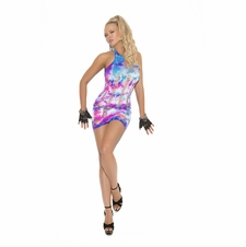 Elegant Moments 8921 Neon Tie Dye Mini Dress