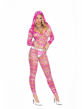 Elegant Moments 8994 Hooded Deep V Bodystocking