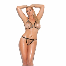 Elegant Moments L1130X Leather Bra With Thong