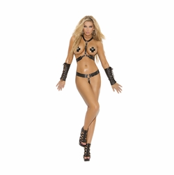 Elegant Moments L1140 Leather Harness and G-String