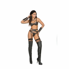 Elegant Moments L1162 Leather Bra, Garter Belt And G-String