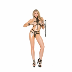 Elegant Moments L1170 Leather Bra And Thong