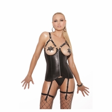 Elegant Moments L3131 Open Bust Leather Corset