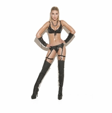 Elegant Moments L9231 Lace Up Leather Garter Belt