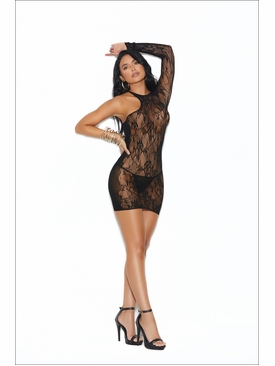 Elegant Moments Lace And Opaque Mini Dress