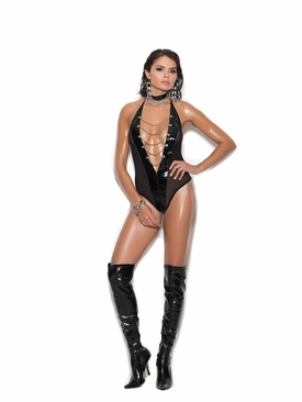 Elegant Moments V2271 Vinyl And Fishnet Halter Teddy