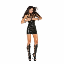 Elegant Moments V8153 Vinyl Cupless Mini Dress