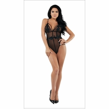 Exhilarate Black Mesh Teddy With Applique Trim