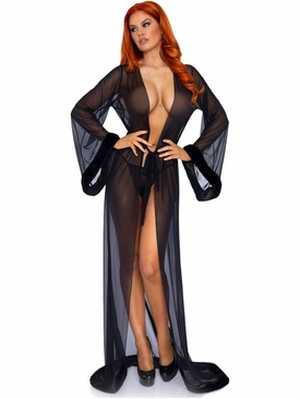 Faux Fur Trimmed Long Sheer Robe