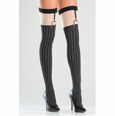 Faux Suspender Thigh Highs With Pinstripe Design
