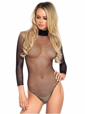 Fishnet High Neck Long Sleeved Bodysuit