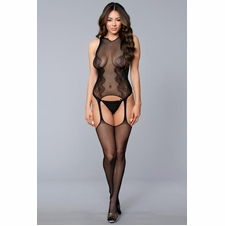 Fishnet Suspender Bodystocking With Lace Details