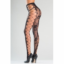 Floral Fishnet Tights With Faux Side Lacing
