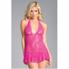 Floral Lace Babydoll With Thong