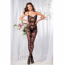 Floral Lace Bodystocking With Bow Accents