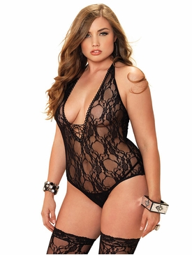 Floral Lace Deep-V Lace Up Teddy