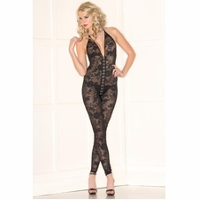 Floral Lace Jumpsuit With Thong