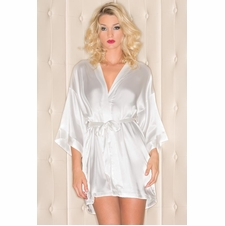 Plus Front Tie Satin Robe With Pockets