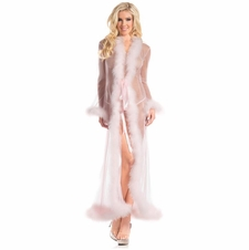 Full Length Sheer Robe With Marabou Feathers