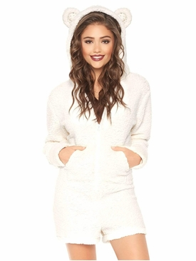 Fuzzy Zip-Up Polar Bear Romper