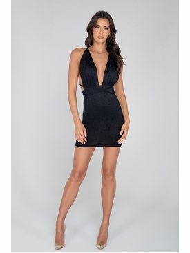 Glitter Cocktail Dress with Criss-Cross Strap