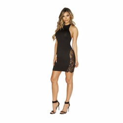 Halter Neck Dress with Eyelash Lace Panels
