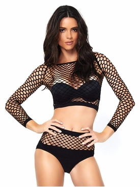 Industrial Net Long Sleeve Crop Top W/Bottoms