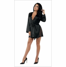 Kindle Satin Robe With Lace Inserts