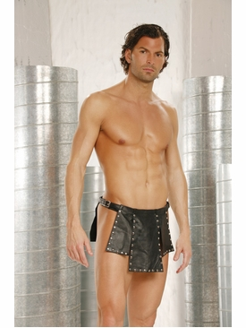 Leather Kilt With Nail Heads Buckle Closure