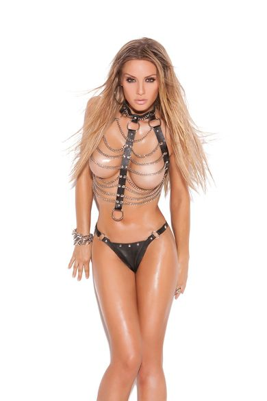 Elegant Moments L9118 Leather And Chain Vest W/Thong