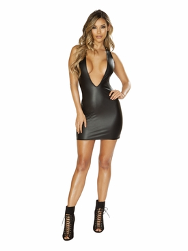 Leather Look Dress with Deep V Cut