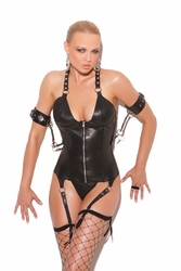 Elegant Moments  L3134  Leather Zip Front Corset