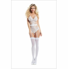 Leila Lace Teddy With Garters And Satin Bow