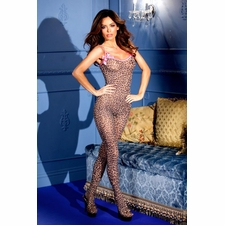 Leopard Print Bodystocking With Bows