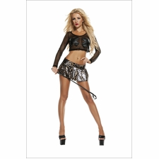 Leopard Print Pleated Vinyl Mini Skirt