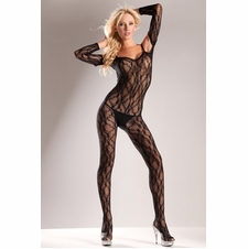 Long Sleeve Bare Shoulder Lace Bodystocking