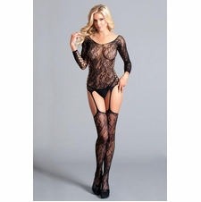 Floral Lace Long Sleeve Suspender Bodystocking