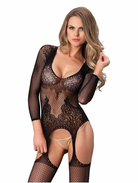 Long Sleeved Ring Net Bodystocking