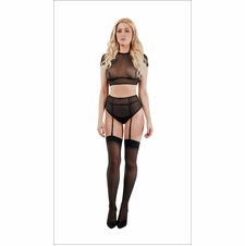 Mesh Cap Sleeve Top And Panty Set