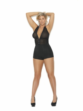 Lycra And Mesh Romper With Deep V Hook