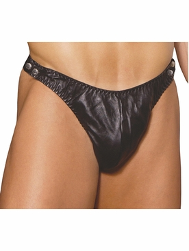 Men's Leather Thong W/ Side Snaps