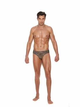 Men's Thong Back Animal Print Brief