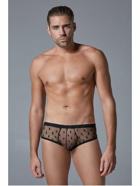 Men's Mid-Rise Sheer Star Motif Brief