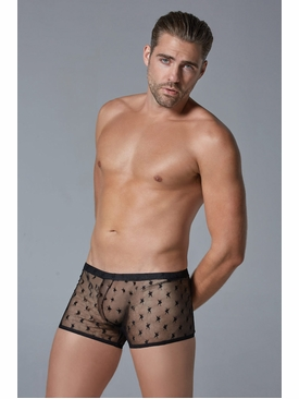 Men's Sheer Star Motif Boxers