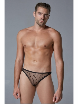 Men's Sheer Thong With Star Motif
