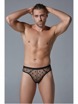 Men's Ultra Sheer Thong With Star Motif