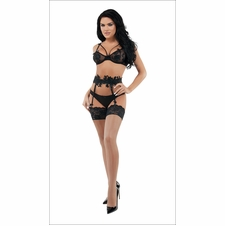 Mischief Mesh Bra & Panty And Garter Set