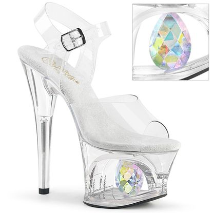 Pleaser Moon-708Dia Cut-Out Platform Ankle Strap Sandal